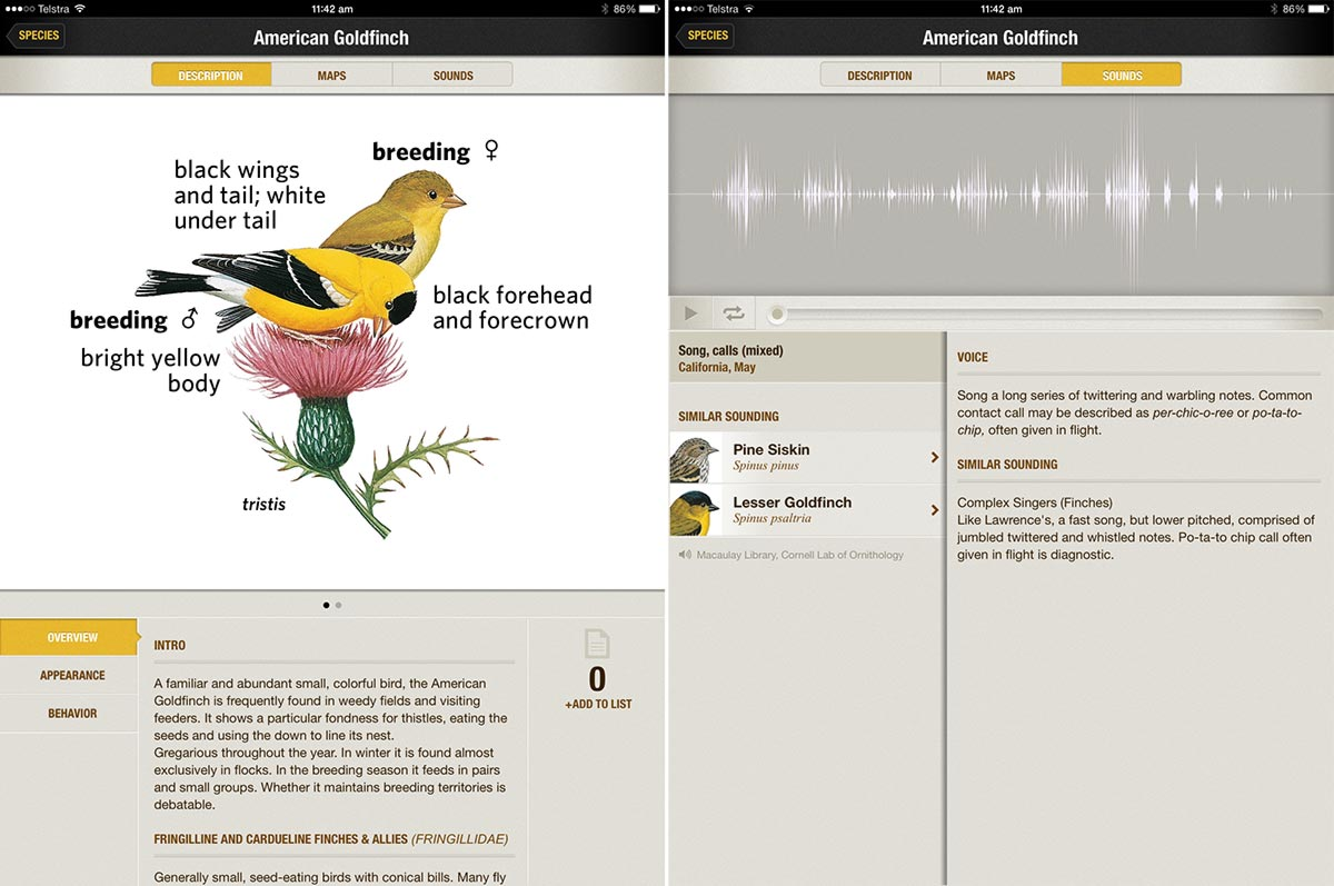 National Geographic's Birds field guide app has lovely detailed images and sounds for each bird.
