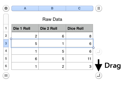 calculate probability roll dice excel formula