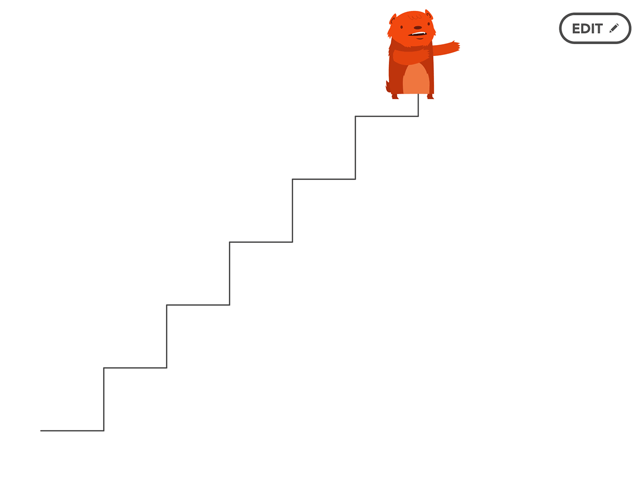The end result. Our bear can now draw an entire staircase!