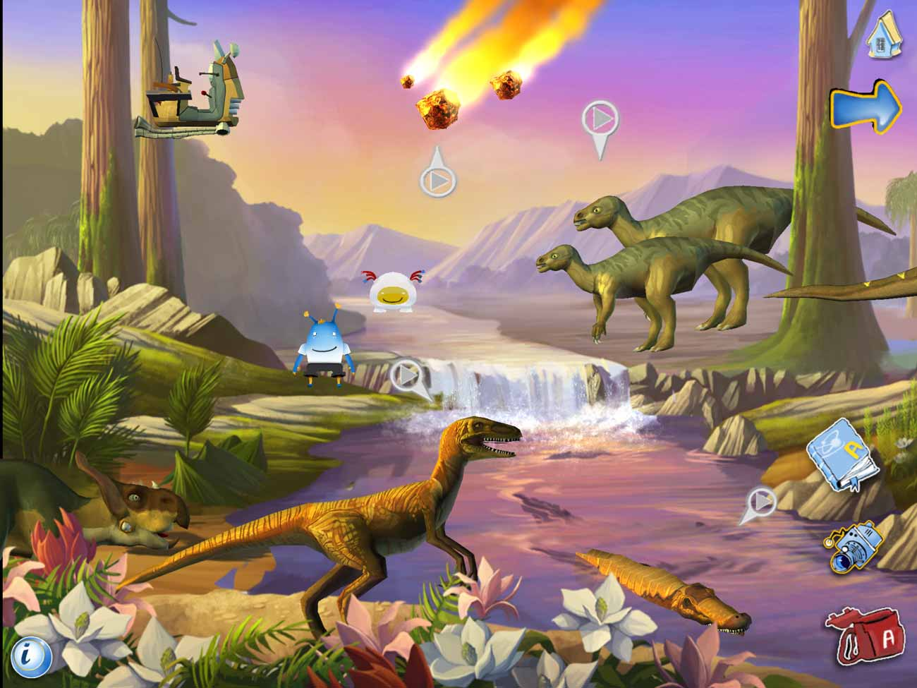 The Ansel and Clair apps each feature a detailed dinosaur scene packed with things to interact with and explore.