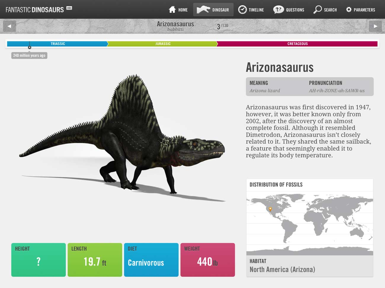 The Fantastic Dinosaurs app includes detailed info and pictures of 130 creatures.