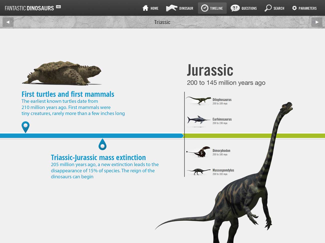 The app's timeline is an easy way to browse the dinosaurs while getting a sense of the timescales involved. It's also filled with fascinating facts.