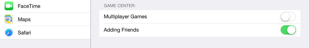 iOS's Restrictions let you control the social aspects of Game Center.