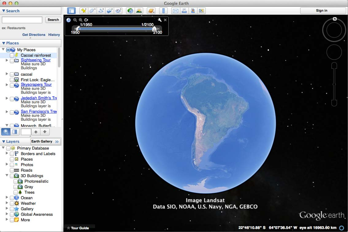 The Google Earth desktop app. The main 3D view is on the right. The left-hand column contains the Search, Places and Layers windows.