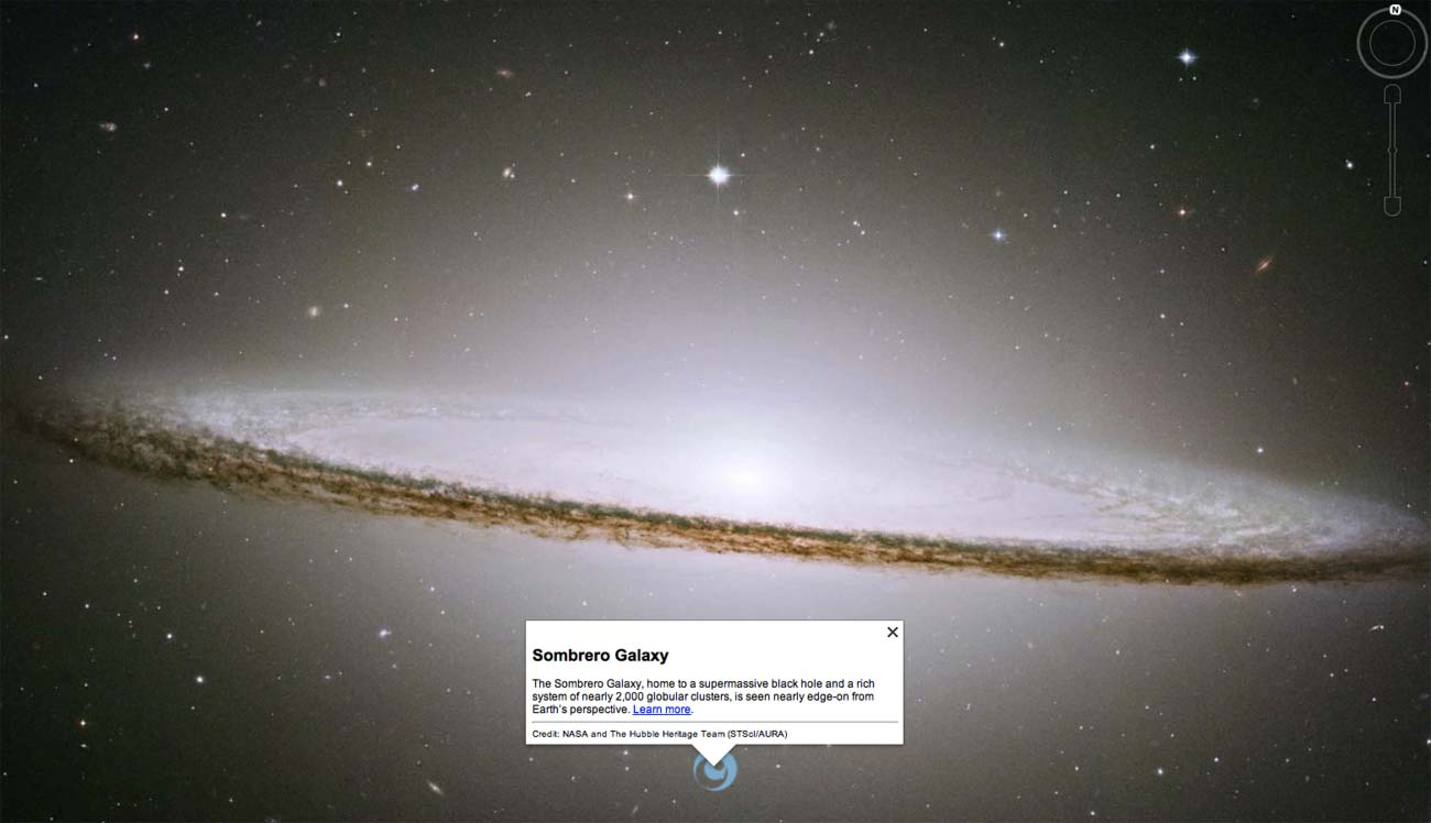 The Sombrero Galaxy is one of my favourite images in Google Earth's Hubble tour.