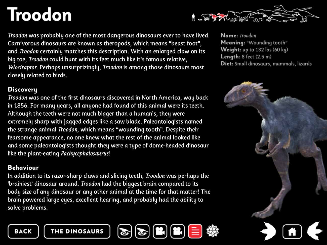 The app includes tons of excellent information and imagery covering each dinosaur in the story.