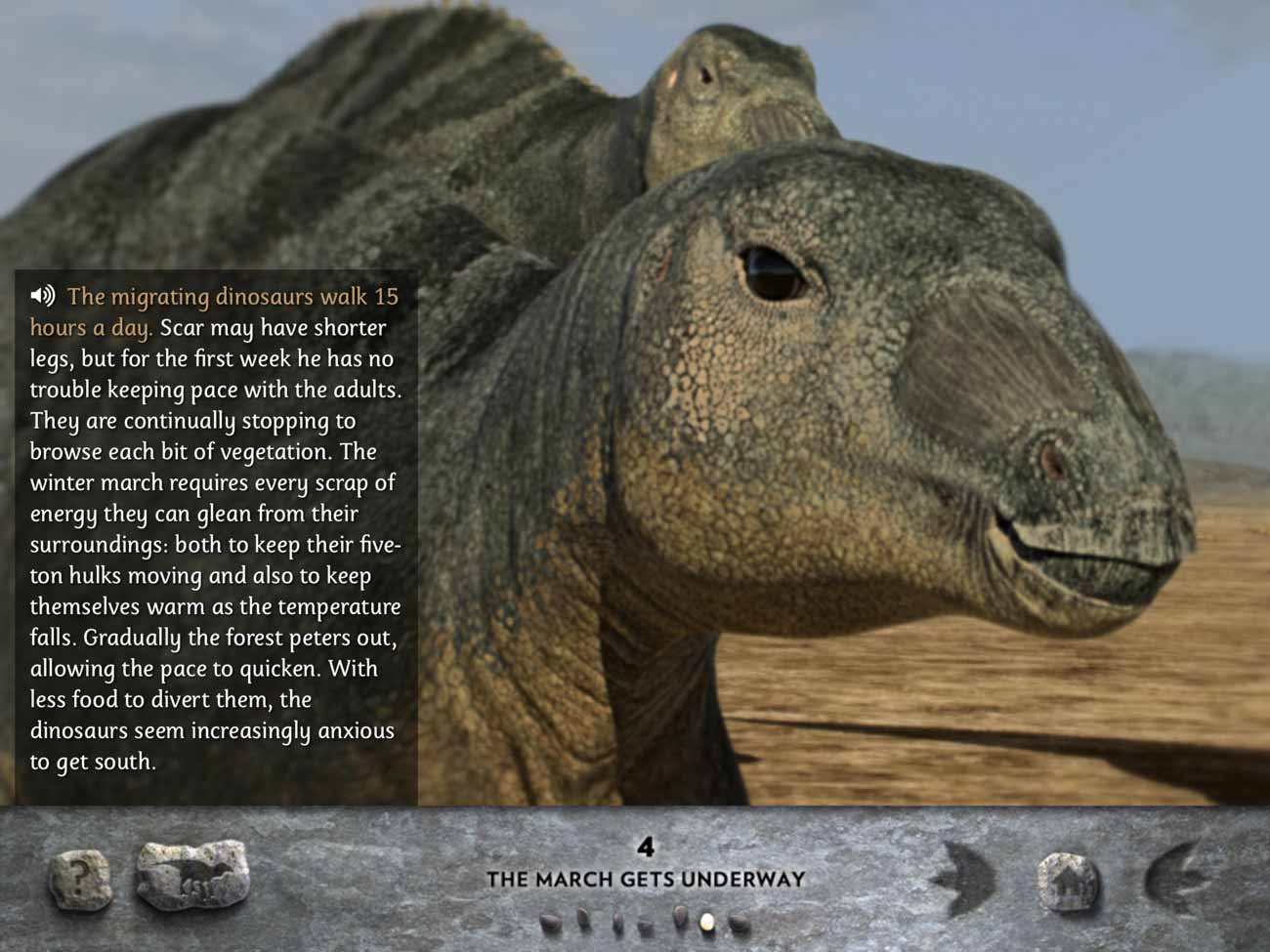 The March of the Dinosaurs app presents the story in both text and audio form.
