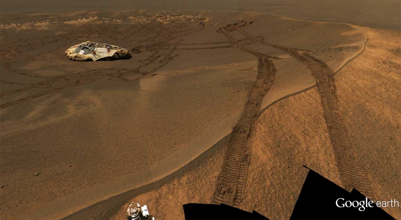 Google Earth's Mars mode has tons of excellent imagery, like this panorama from the Opportunity rover, showing its lander and tracks.