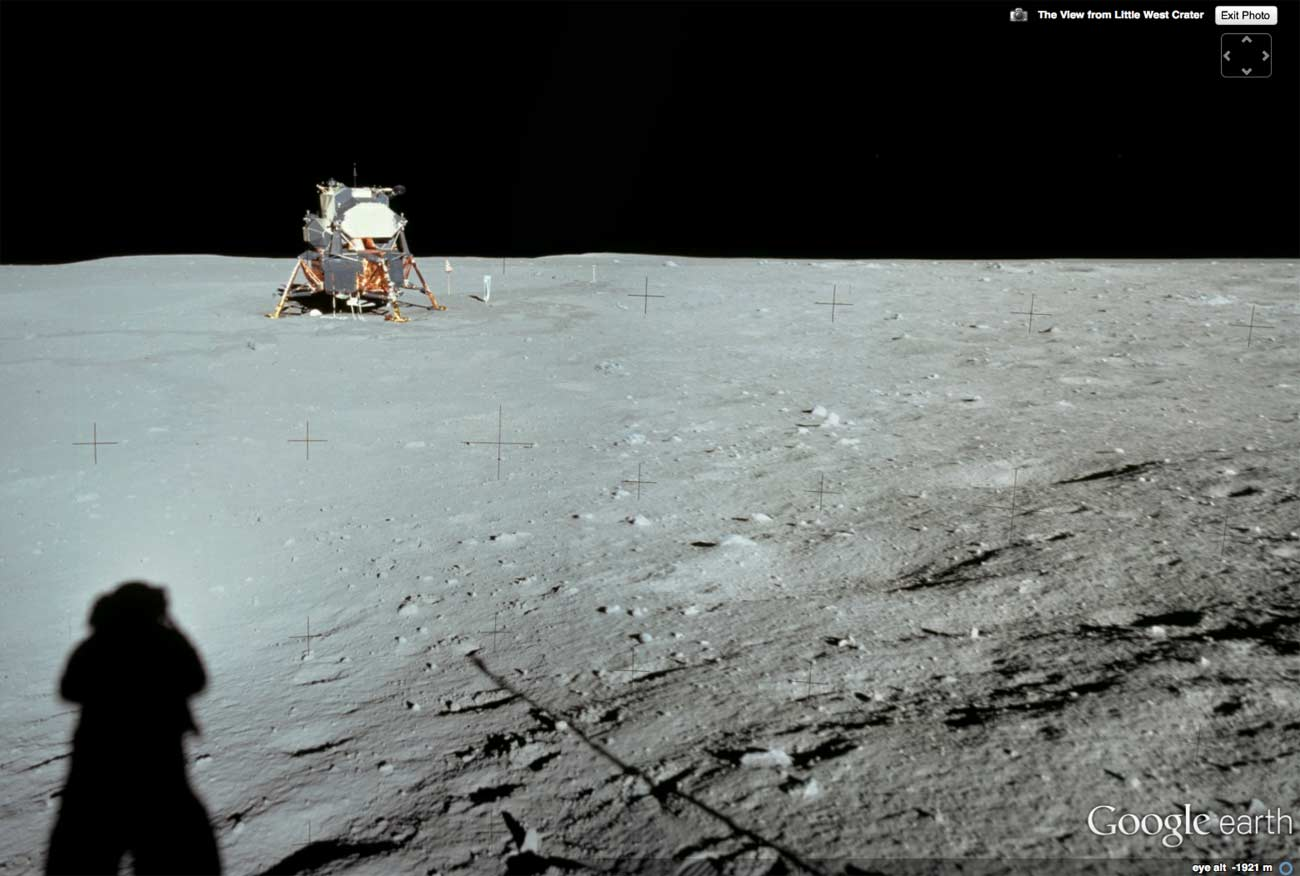 With Google Earth's Moon setting, you can stand on the spot where Neil Armstrong took this photo of his ride home!
