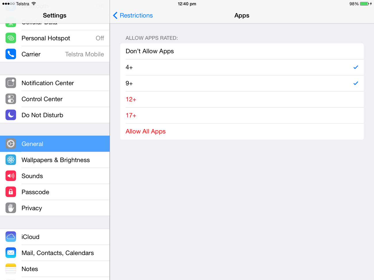 The Allowed Content group under Restrictions lets you set age limits for apps, movies and more.