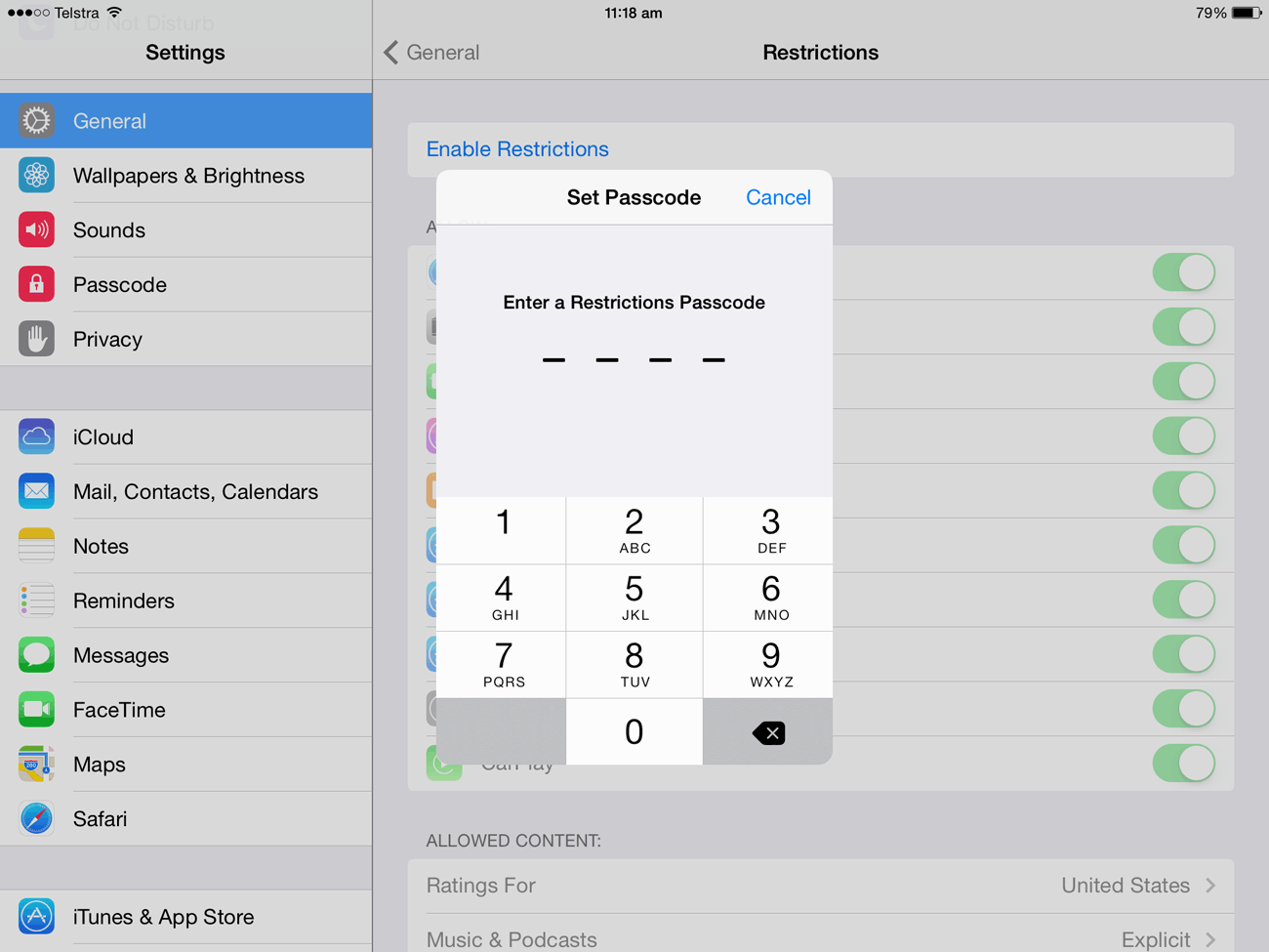 To use the Restrictions feature, you first need to enable it by setting a passcode.