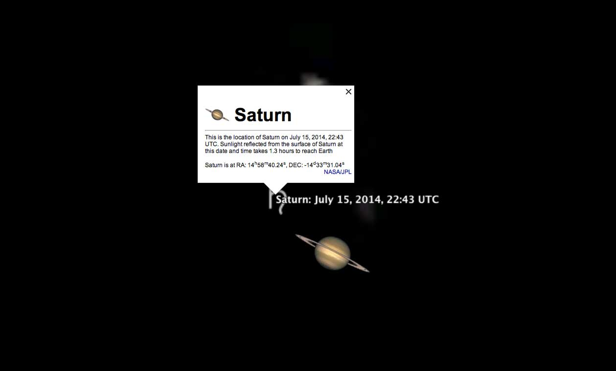 Finding Saturn in the night sky.