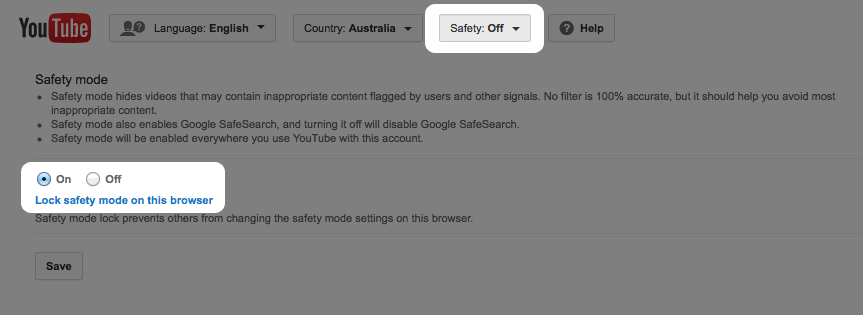 To filter YouTube, press the Safety Mode button at the bottom of any YouTube page.