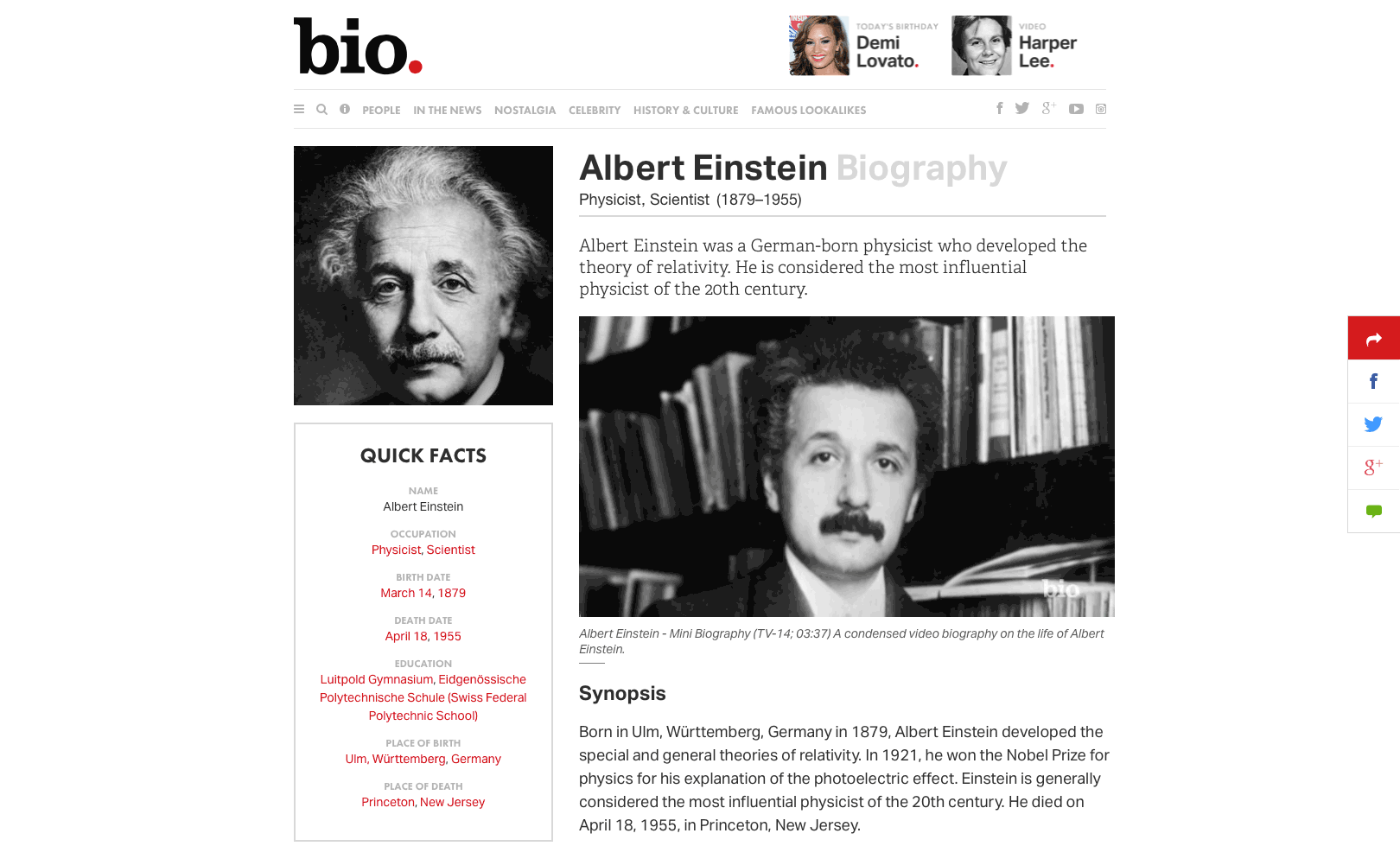 Biography.com features detailed biographies of notable people, often including videos too.