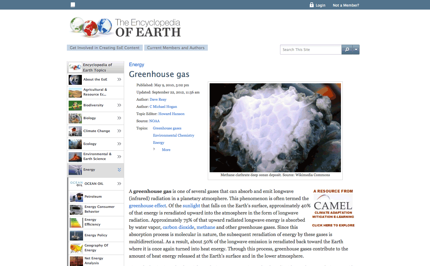 The Encyclopedia of Earth is an excellent online reference for the environmental sciences.
