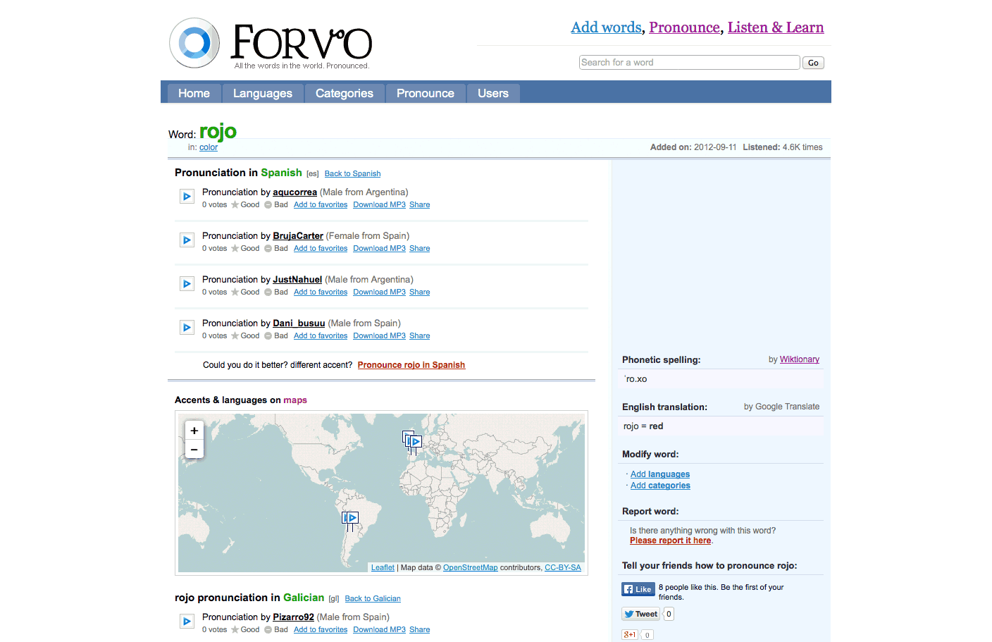 Forvo lets your child hear how foreign words are pronounced all over the world.