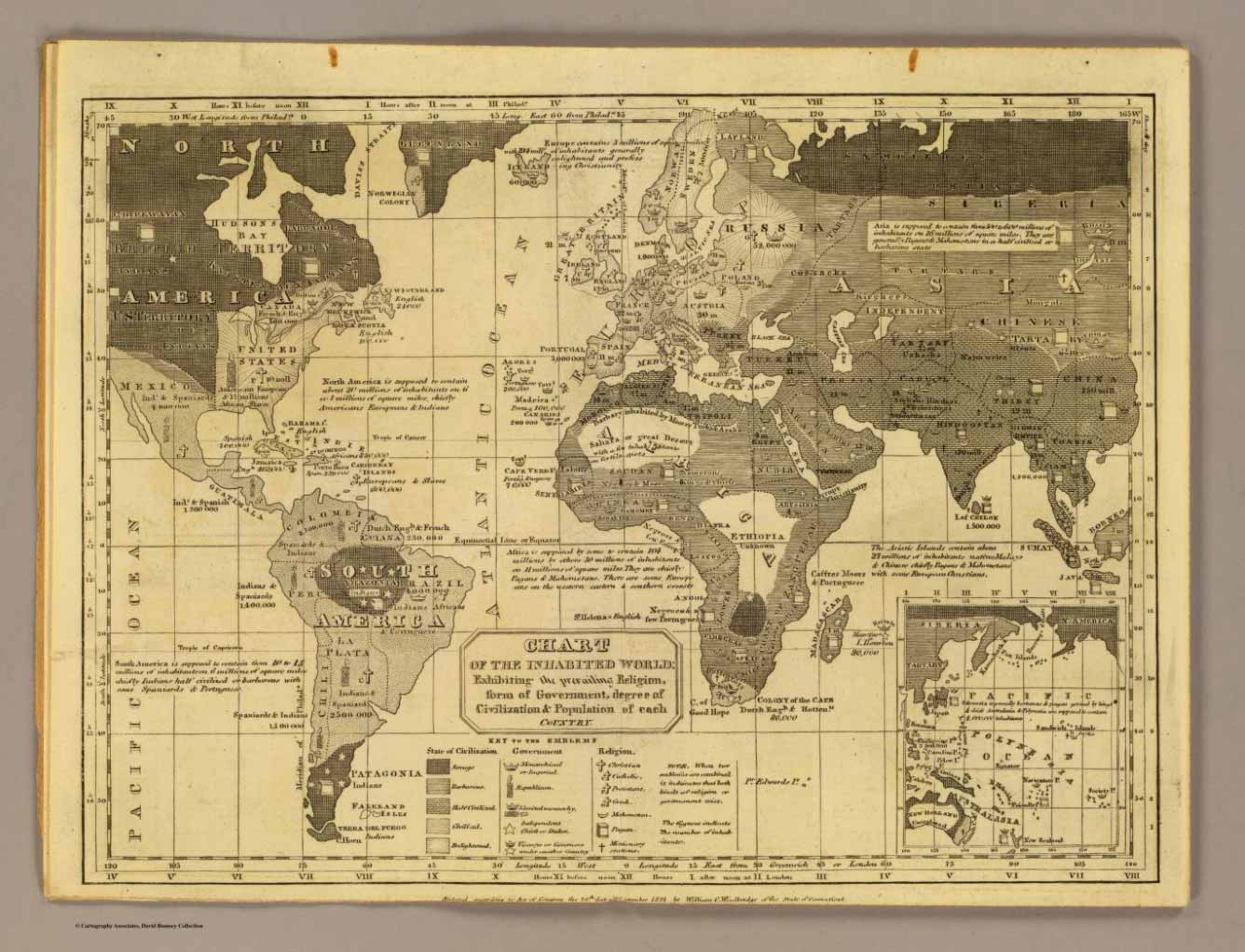 Old Maps Online contains some amazing old maps, such as this one of the inhabited world in 1824.