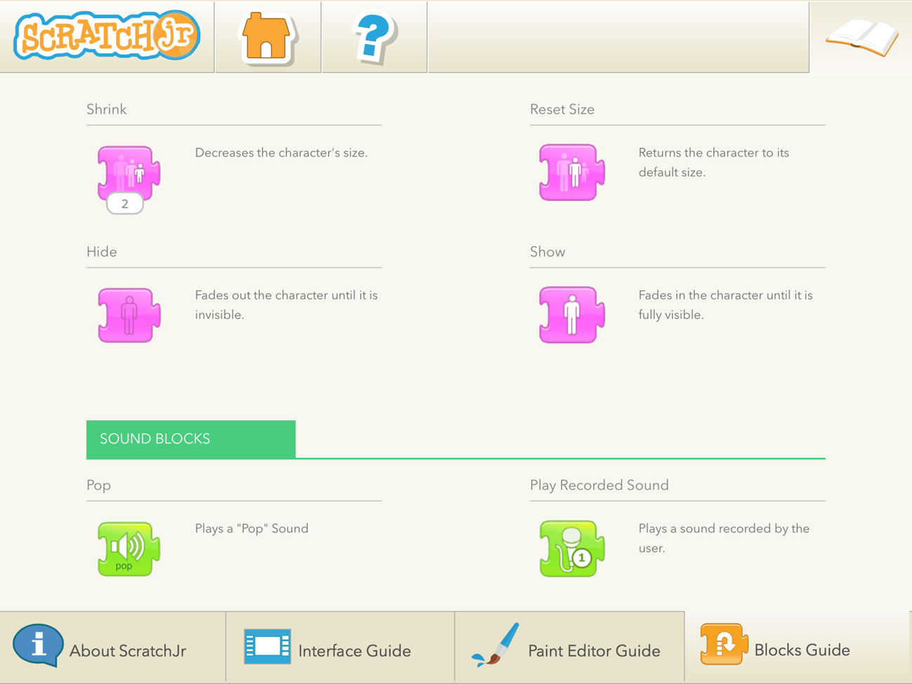 Some of the many programming blocks available in ScratchJr.