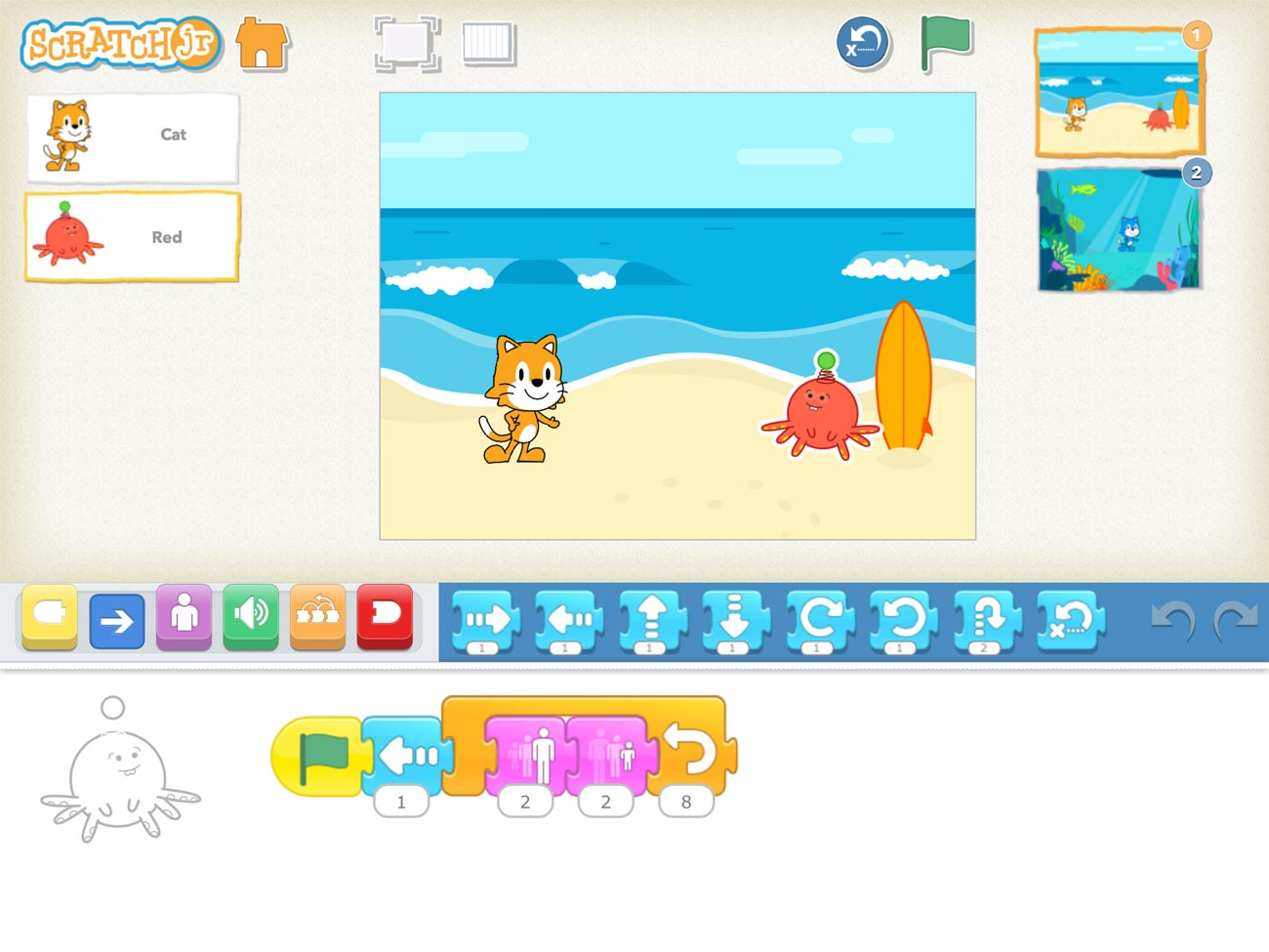 With ScratchJr, you create computer programs by dragging coloured blocks. In this screenshot, the red octopus character's program is shown at the bottom of the screen.