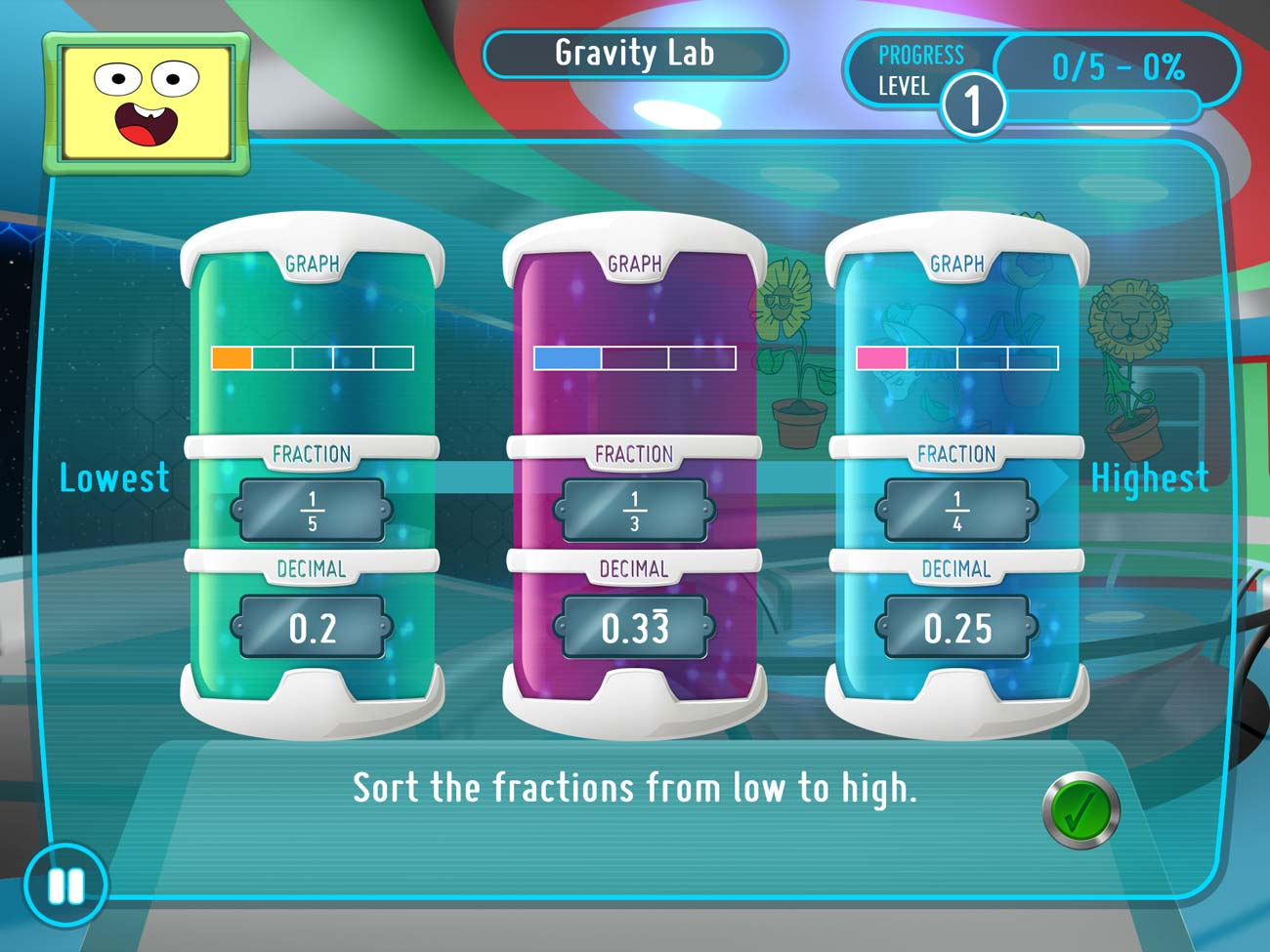 The Gravity Lab in SMART Adventures Mission Math teaches your child how to work with fractions and decimals.