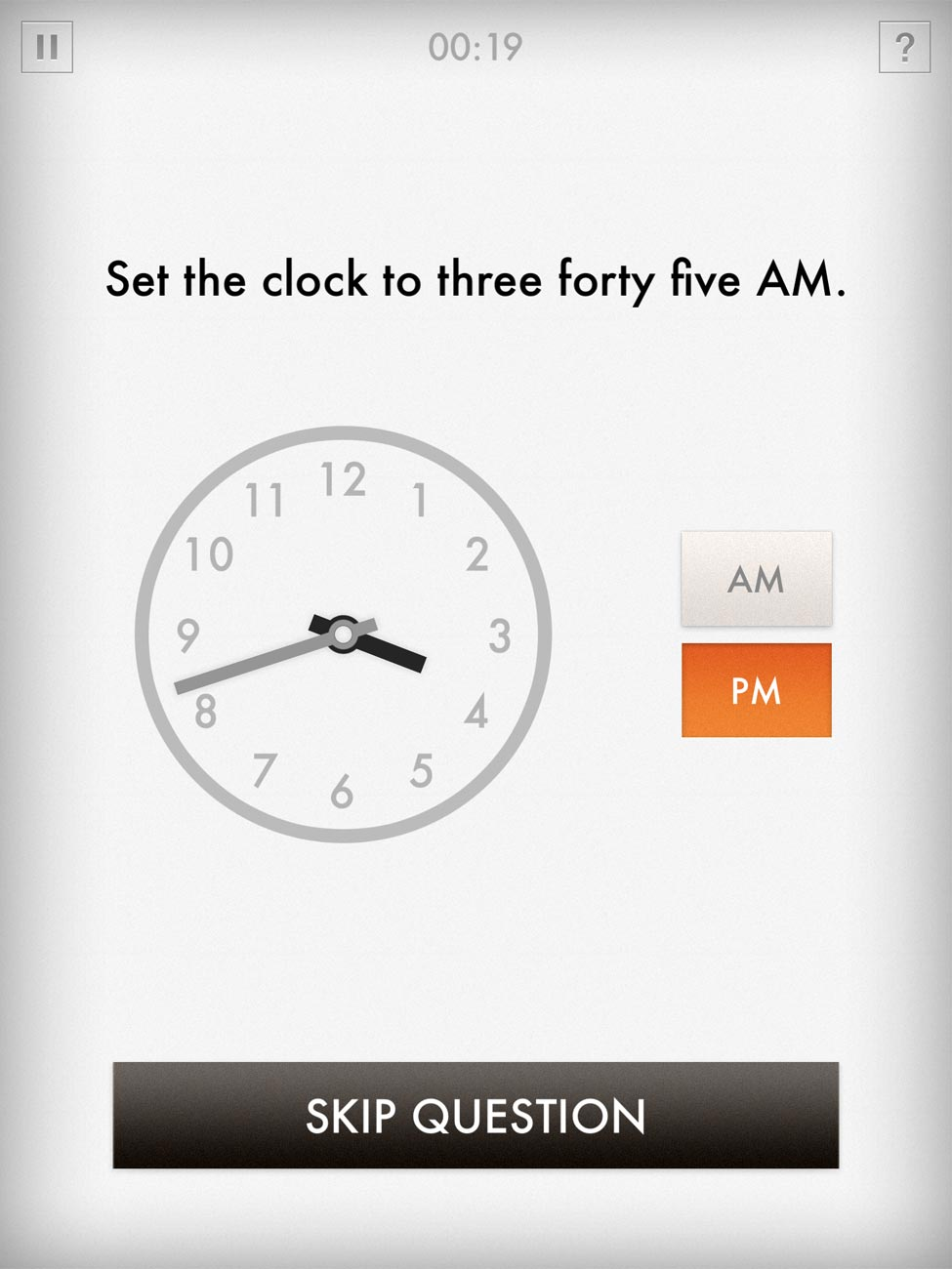 Quick Clocks lets you improve your clock-reading skills by manipulating clocks on the screen.