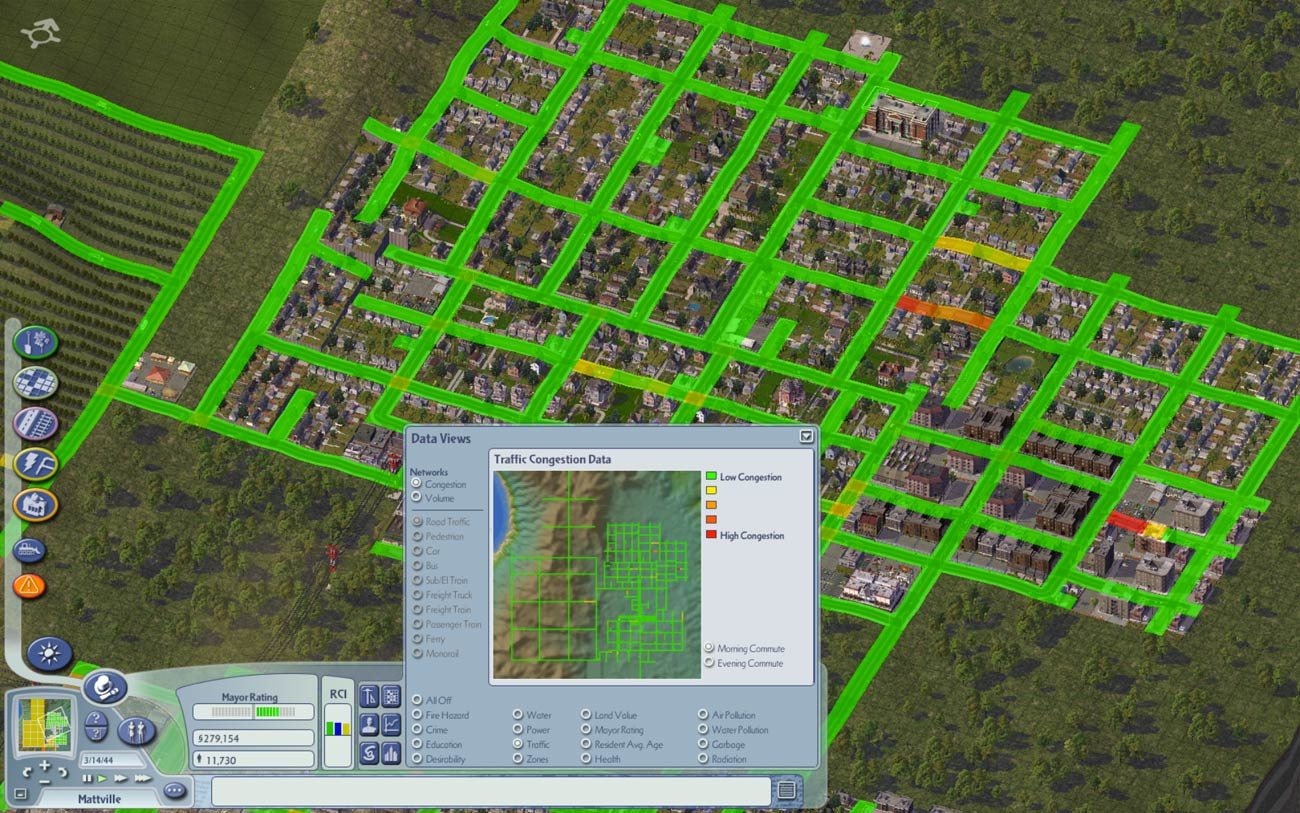 SimCity's congestion maps helps you spot traffic jams (in red) so you can plan your transport network effectively.