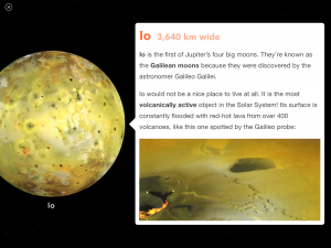 Space - A Brightpips Guide iPad Screenshot - Jupiter's Moons Widget