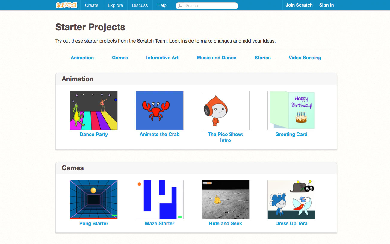 The starter projects on the Scratch website are a great way to get going quickly and learn good coding techniques.